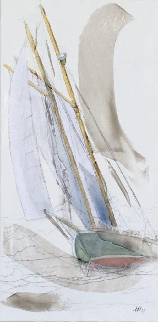 Marine 25 - huile et sable sur toile 40x80